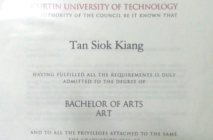 Bachelor of Arts – Curtin University of Technology